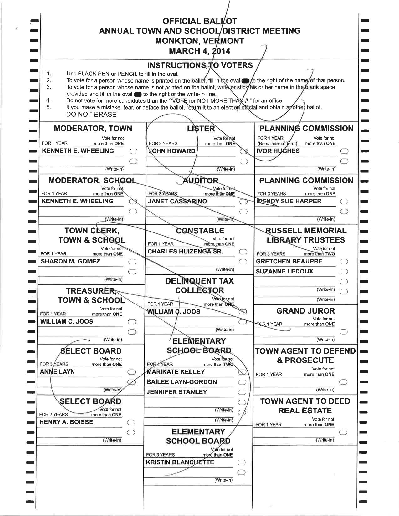 Sample Ballots for Municipal Elections March 4,2014   Monkton Vermont