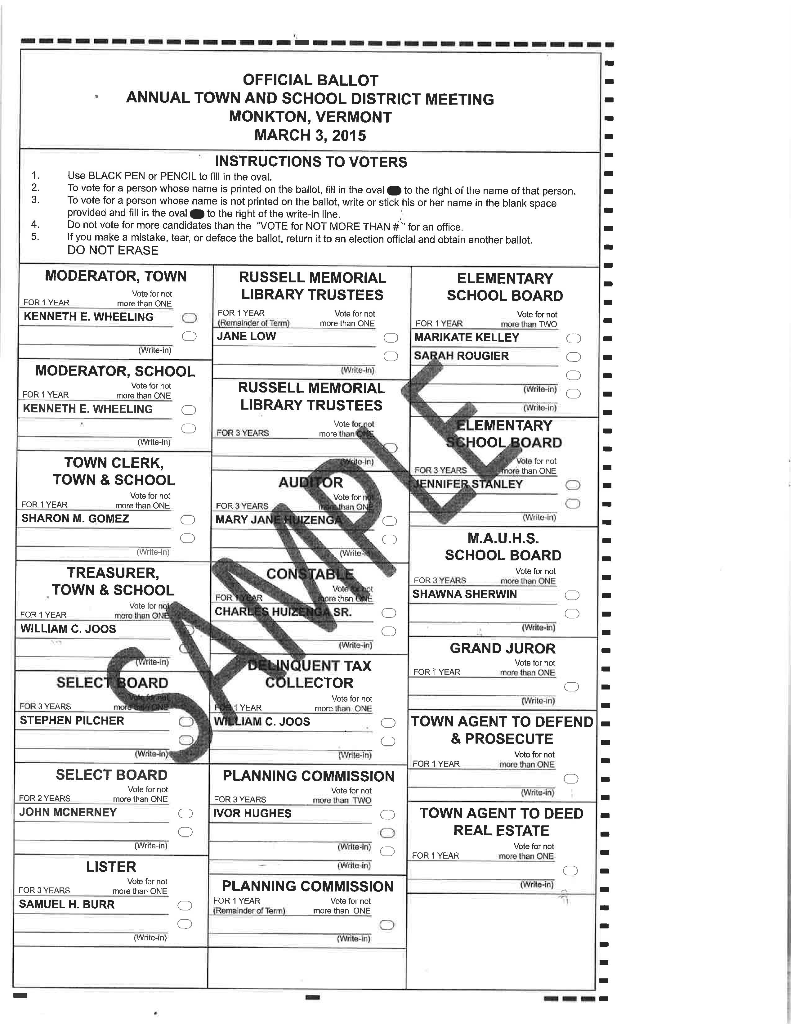 Sample Ballots for Town Meeting Day March 3, 2015 | Monkton Vermont