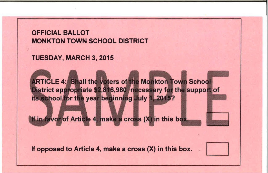 Monkton Town School Ballot