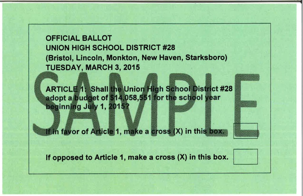 Union High School Ballot