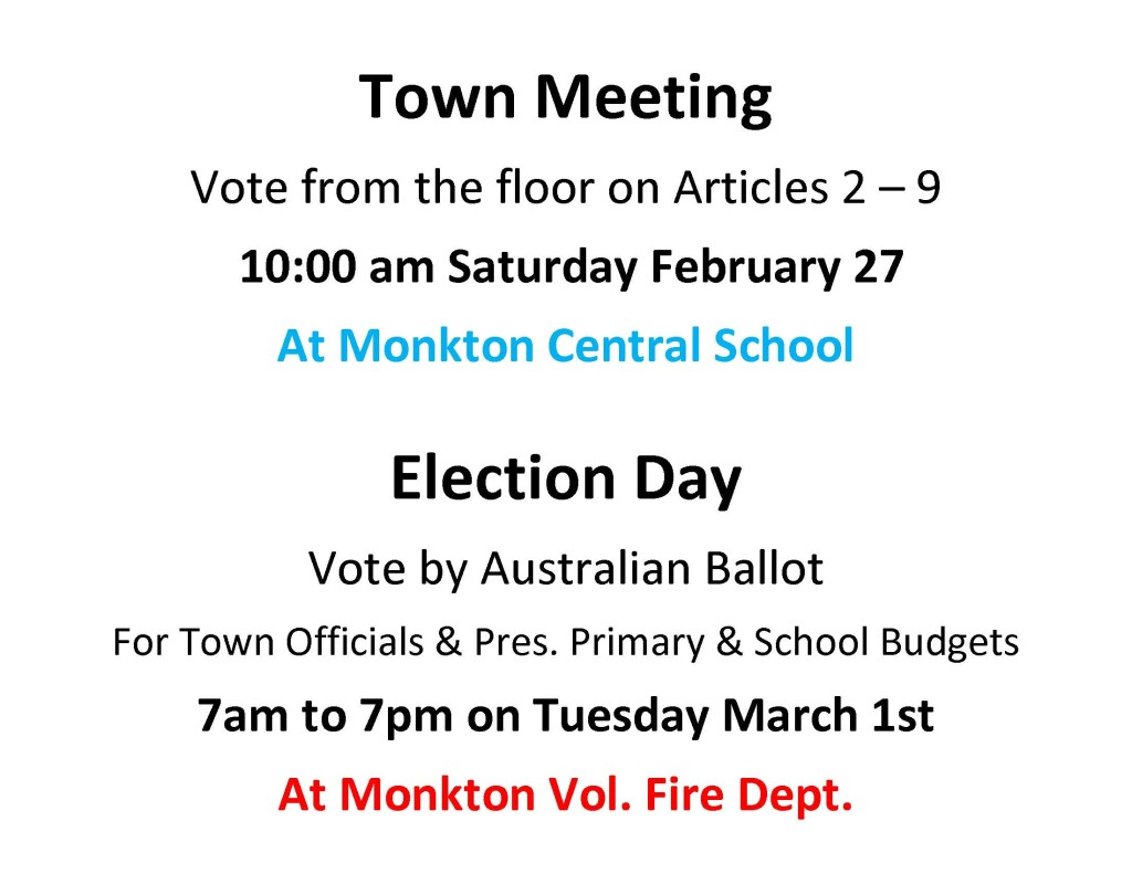 Town Meeting-Election Day Posting
