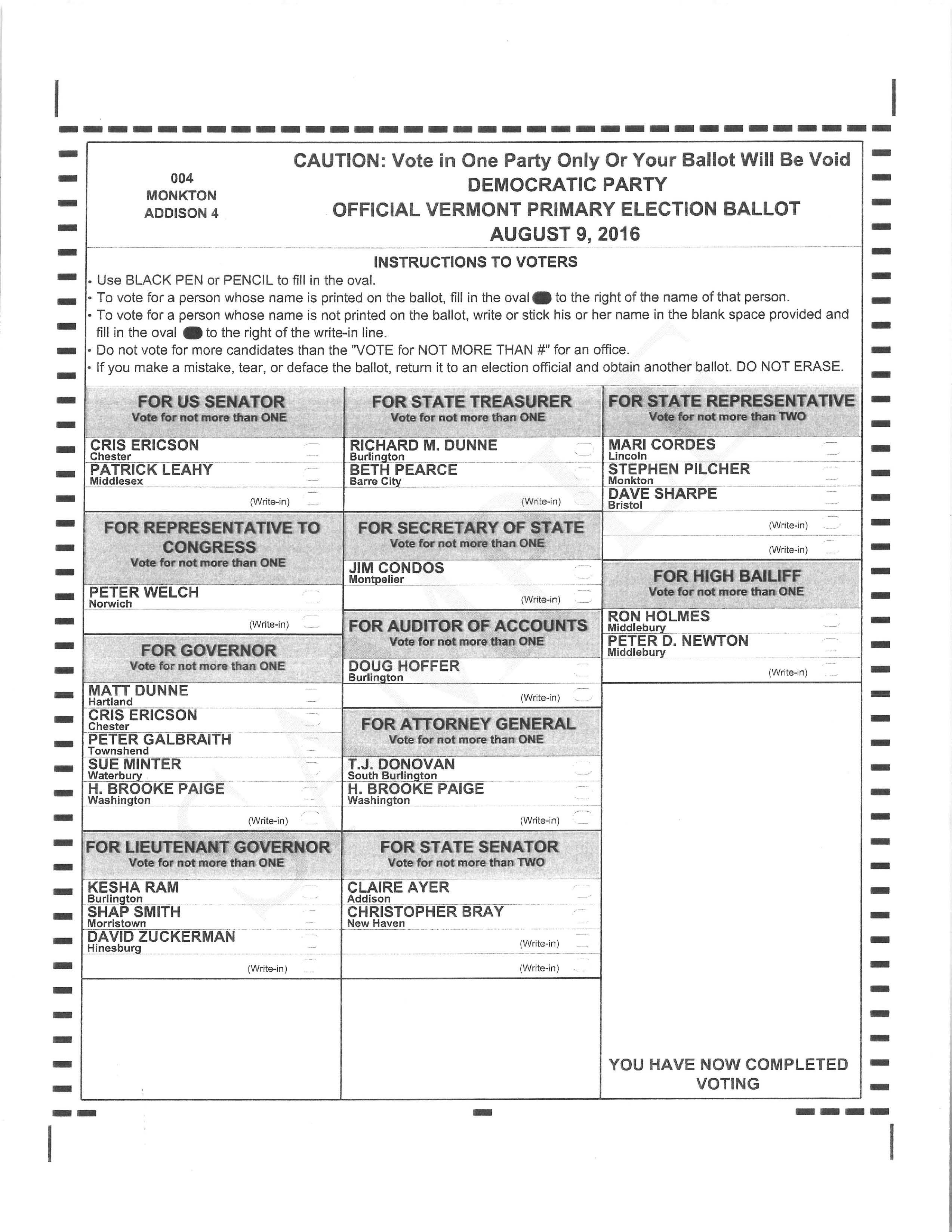 Vermont Primary Election August 9,2016 Warning and Sample Ballots ...